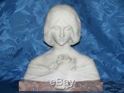 02F11 ANCIENNE STATUE SCULPTURE BUSTE MARBRE BLANC JEUNE FEMME ART NOUVEAU XIXe