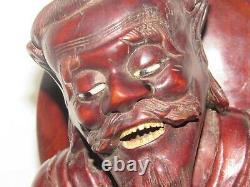 02F12 ANCIENNE SCULPTURE EN BOIS STATUE PÊCHEUR CHINOIS CHINE INDOCHINE FIN XIXe