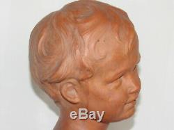 02g15 Ancienne Statue Sculpture Terre Cuite Leon Morice Buste Enfant Garcon