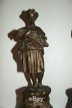 03B45 PAIRE ANCIENNE STATUE REGULE MOISSONNEUSE / FAUCHEUR SIGNE MOREAU XIXe