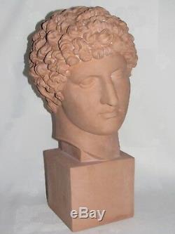 03e1 Ancienne Statue Sculpture Terre Cuite Buste Hermes Divinité Grecque Antique