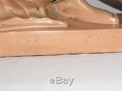 07c43 Ancienne Statue Sculpture Pltre Diane Chasseresse Femme Nue Athlète 1930