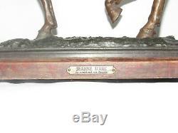 09G8 ANCIENNE STATUE EN RÉGULE PATINE EN COULEURS JEANNE D'ARC A CHEVAL 42 cm