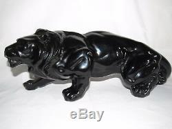 09d11 Ancienne Statue Animalière Lion A Laffût En Céramique Sculpture Art Déco