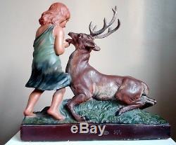 1900, Art Nouveau, Statue Ancienne Le Cerf Et La Jeune Fille