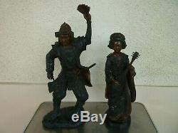 2 Anciennes Statues En Bronze Samourai Et Geisha Japon Circa 1920 Sculptures