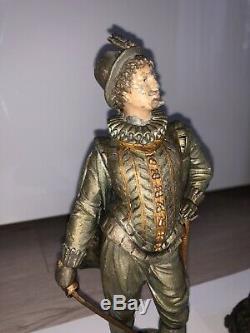 2 Statues Mousquetaire Gentilhomme Épée Art Déco Ancien Rare Français Sculpture