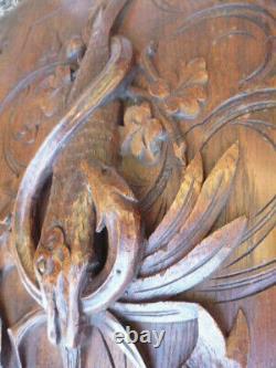 2 ancien panneau bois scultpé trophées de chasse hunting trophy pannel wood