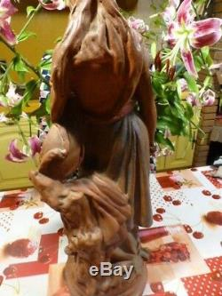 66cm tres ancienne grande, belle statue plàtre demoiselle à la guitare