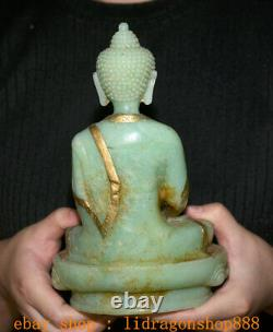 8 Ancien Tibet Naturel Vert Jade Sculpté Shakyamuni Amitabha Bouddha Bol Statue