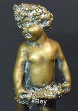 AA sculpture ancienne statuette Bacchus enfant bronze 2.4kg29cm statue signée