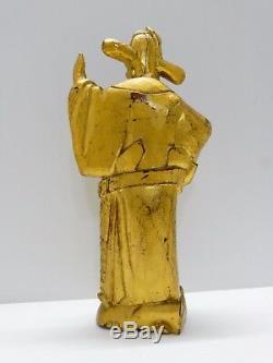 ANCIENNE GRANDE SCULPTURE STATUE SAGE DIGNITAIRE CHINOIS BOIS DORE XVIIIe-XIXe