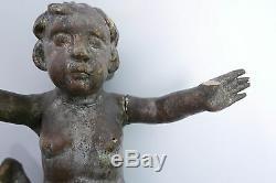 ANCIENNE PAIRE DE STATUES D'ANGELOTS EN BOIS PUTTI ÉPOQUE XVIIIè PUTTO