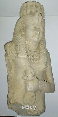 ANCIENNE REPRODUCTION D'ÉGYPTE ANTIQUE SUR CALCAIRE (poids 1,5kg / hauteur 20cm)