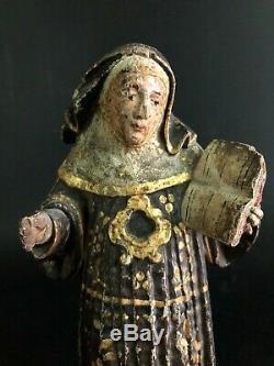 ANCIENNE SCULPTURE EN BOIS POLYCHROME ESPAGNE FRANCE ITALIE vierge religion