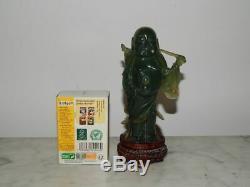 ANCIENNE SCULPTURE Statue BOUDDHA en Jade Jadéite vératible PIERRE DURE