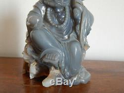 ANCIENNE SCULPTURE Statue BOUDDHA en Pierre D'AGATE Sculptée Main CHINE ASIE