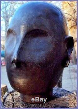 ANCIENNE SCULPTURE TÊTE EN TERRE CUITE DÉBUT XXème