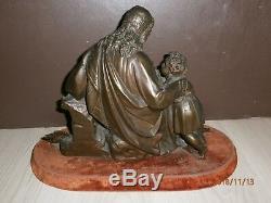 ANCIENNE STATUE BRONZE/JESUS CHRIST ET LES ENFANTS/SOCLE /NON SIGNEE/FIN XIXème