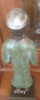ANCIENNE STATUE HOMME MOINE BOUDDHISTE EN BRONZE 30 CM 1.5 kg