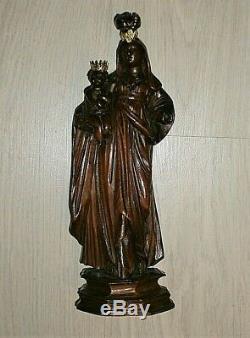 ANCIENNE STATUE RELIGIEUSE BOIS SCULPTE/LA VIERGE A L'ENFANT/29cm/XIXè OU AVANT