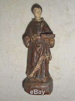 ANCIENNE STATUE RELIGIEUSE BOIS SCULPTE/SAINT FRANCOIS/H. 17 cm/XIXème OU AVANT