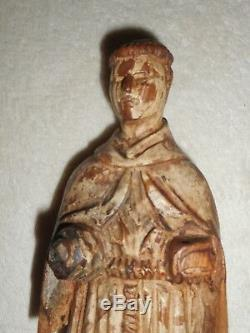ANCIENNE STATUE RELIGIEUSE BOIS SCULPTE/SAINT FRANCOIS/H. 22 cm/XIXème OU AVANT