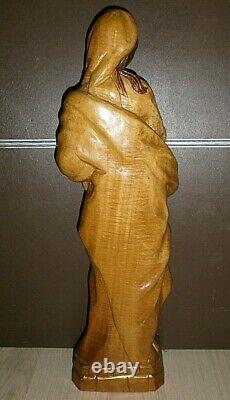 ANCIENNE STATUE RELIGIEUSE/BOIS VERNI /H. 51cm/ LA VIERGE A L'ENFANT /XXème