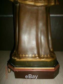 ANCIENNE STATUE/RELIGIEUSE/H. 91cm/SAINT ANTOINE ET ENFANT JESUS/XIX/PLATRE PEINT