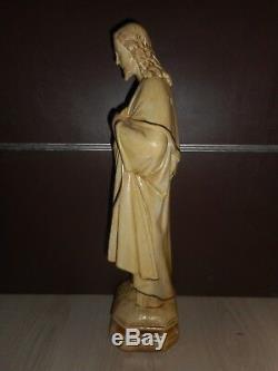 ANCIENNE STATUE RELIGIEUSE/JESUS SACRE-COEUR/XIXè/PLATRE PEINT/H. 54cm/CHRIST/IHS