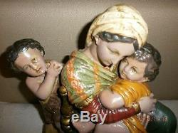 ANCIENNE STATUE RELIGIEUSE/ LA VIERGE, ENFANT JESUS ET SAINT JEAN /PLATRE/H. 35cm
