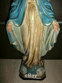 ANCIENNE STATUE RELIGIEUSE/LA VIERGE MIRACULEUSE/debut XXéme/H. 66cm/PLATRE PEINT