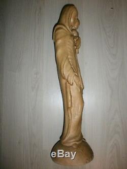 ANCIENNE STATUE RELIGIEUSE/LA VIERGE/SIGNE/JE ME SOUVIENTS/CANADA/H. 62cm/DATEE