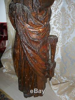 ANCIENNE STATUE RELIGIEUSE/SAINTE CATHERINE ALEXANDRIE/BOIS/ XVIII-XIXéme/H. 89cm