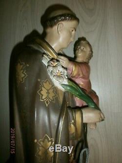 ANCIENNE STATUE RELIGIEUSE/SAINT ANTOINE & ENFANT JESUS/FIN XIXéme/H. 63cm/PLATRE