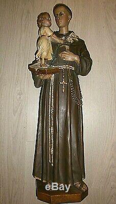 ANCIENNE STATUE RELIGIEUSE/SAINT ANTOINE ET JESUS/TERRE CUITE/FIN XIXéme/H. 65cm