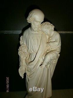 ANCIENNE STATUE RELIGIEUSE/SAINT JOSEPH ET ENFANT JESUS/H. 42cm/PLATRE PATINè/XIX