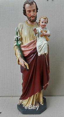 ANCIENNE STATUE RELIGIEUSE/SAINT JOSEPH ET JESUS/PLATRE PEINT/FIN XIXéme/ H. 70cm