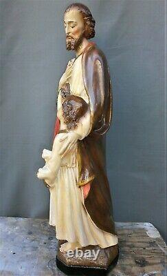 ANCIENNE STATUE RELIGIEUSE/SAINT JOSEPH ET JESUS/PLATRE PEINT/XXéme 1950/H. 63cm