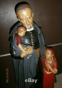 ANCIENNE STATUE RELIGIEUSE/Saint Vincent de Paul/FIN XIXéme/H. 64cm/PLATRE PEINT