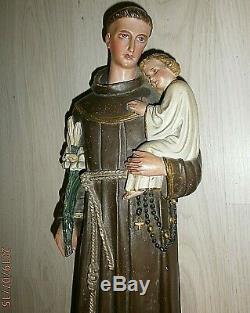 ANCIENNE STATUE RELIGIEUSE/St ANTOINE ET ENFANT JESUS/PLATRE PEINT/H. 52cm/XIXème