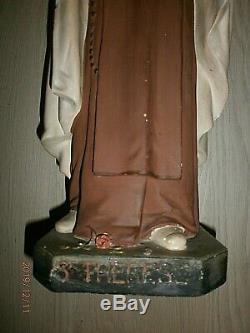 ANCIENNE STATUE RELIGIEUSE/Ste THERESE DE L'ENFANT JESUS/PLATRE POLYCHROME/H. 53c