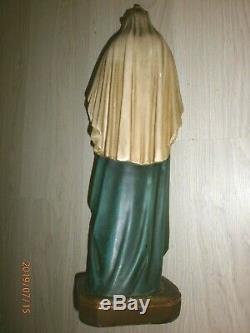 ANCIENNE STATUE RELIGIEUSE/VIERGE A L'ENFANT JESUS/PLATRE PEINT POLYCHROM/H. 52cm