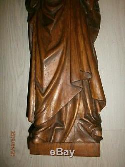 ANCIENNE STATUE RELIGIEUX/BOIS/XXème/LA VIERGE A L'ENFANT/H. 64 cm/JESUS/MADONNA