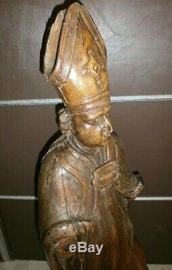 ANCIENNE STATUE RELIGIEUX EN BOIS /CIRE/XVIII-XIXème/SAINT EVEQUE/H. 90 cm/EGLISE