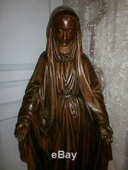 ANCIENNE STATUE RELIGIEUX EN BOIS/ La Vierge Miraculeuse/ H. 134cm /DEBUT XIXème