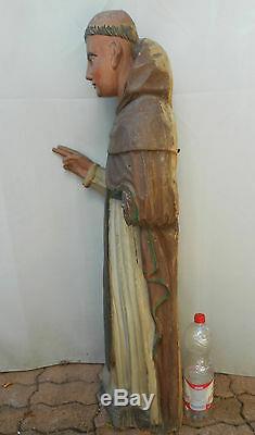 ANCIENNE STATUE RELIGIEUX EN BOIS PEINT/ XVIII-XIXème/SAINT DOMINIQUE/H. 115 cm