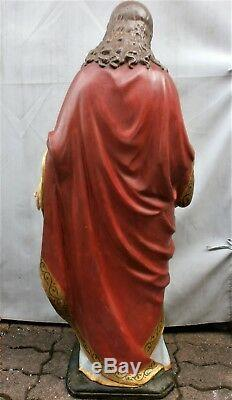 ANCIENNE STATUE/RELIGIEUX/JESUS SACRE-COEUR/GHRIST/H. 117cm/XIXè-XXè/PLATRE PEINT