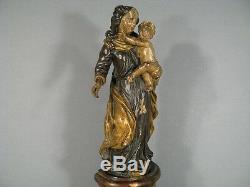 ANCIENNE VIERGE A L'ENFANT SCULPTURE STATUE EN BOIS SCULPTÉ XVIIIème SIÈCLE