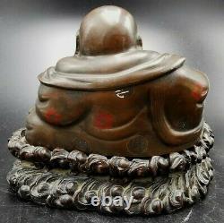 ANCIEN BOUDDHA RIEUR BRONZE et BOIS ANTIQUE CHINESE BUDDHA POUSSAH HOTEI CHINE